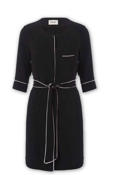 GANNI Women's Black Belted Shirt Dress With Contrast Piping Dress S SMALL Ladies