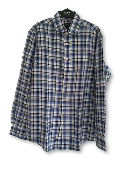 HACKETT LONDON PURE LINEN LONG SLEEVE BUTTON-UP PLAID SHIRT Men