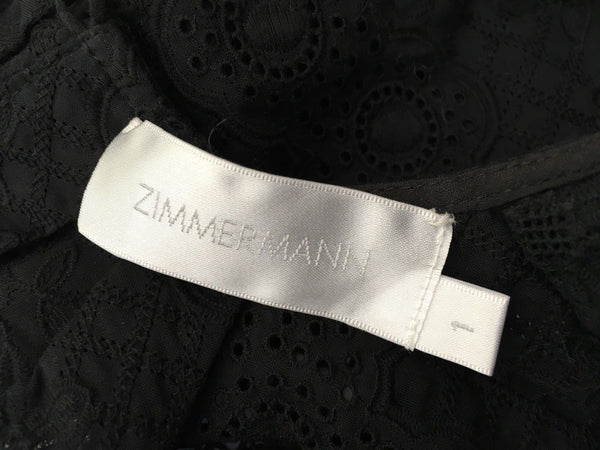 Zimmermann Women's Black Caravan Ruffled Cropped Top Ladies