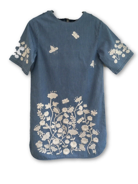 STELLA MCCARTNEY KIDS BLUE DENIM EMBROIDERED DRESS Children