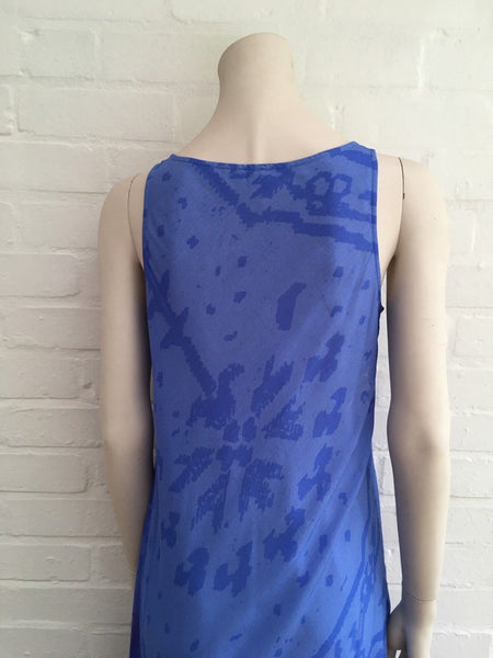PASHMA Blue Long Paisley Printed Silk Dress Size S SMALL AMAZING Ladies