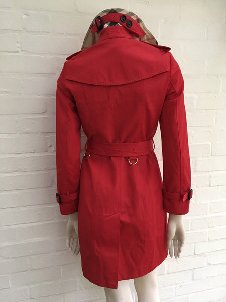 BURBERRY PRORSUM The Sandringham Red Mid-Length Belted Trench US 4 UK 6 I 36 XS Ladies