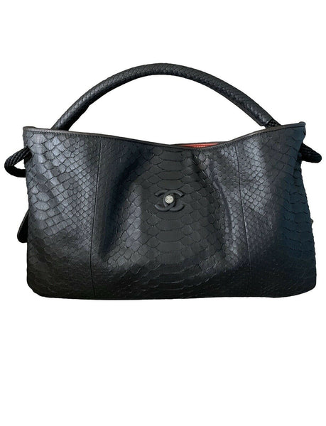 CHANEL Expandable Python Hobo Shopper Bag Handbag Ladies