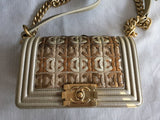 Chanel Embellished Lambskin Le Boy Bag in Runway Gold Metallic Antiqued Hardware  Handbag Ladies