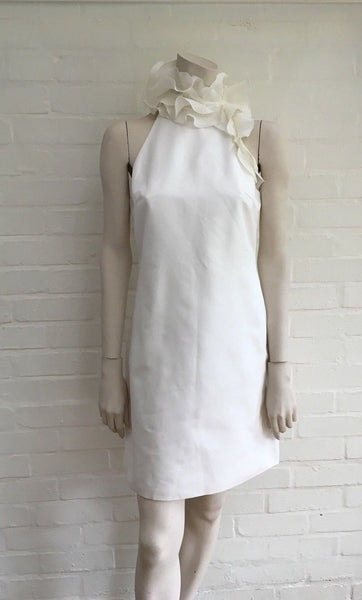 Ralph Lauren £1908 New Runaway Ruffle Trim Collar White Dress LADIES