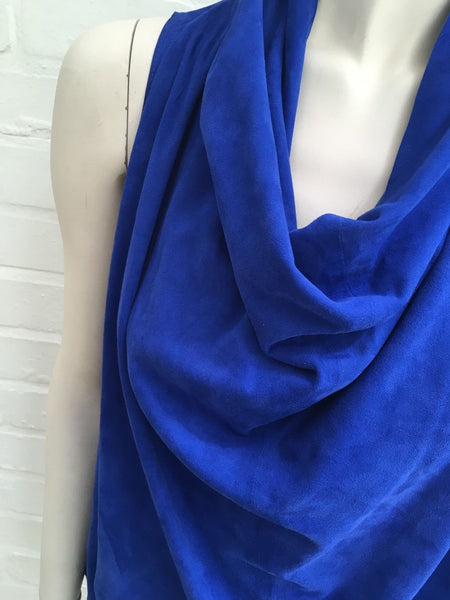 Balmain Suede cowl top electric blue F 36 UK 8 US 4 S Small Ladies