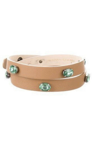ALESSANDRA RICH Brown Jewel Leather Thin Skinny Belt Ladies