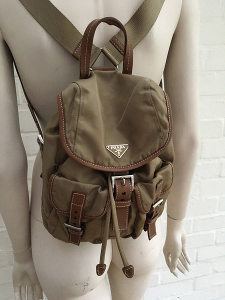 PRADA SMALL KHAKI TESSUTO & LEATHER TRIM BACKPACK HANDBAG BAG LADIES