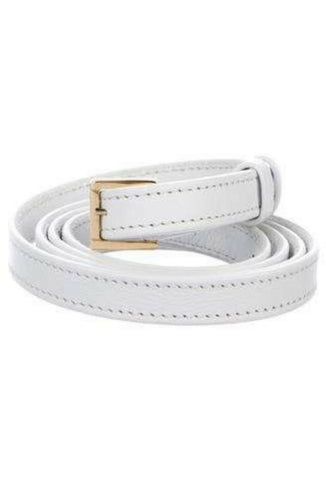 Elie Saab leather thin skinny white belt Ladis