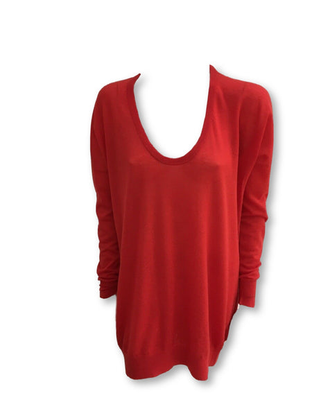 JOSEPH Cashair Wide Neck Red Tunic Sweater Jumper 100% Cashmere Ladies