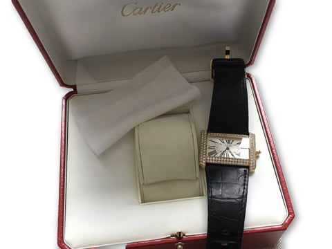 Cartier Tank Divan 2602 Solid 18k Yellow Gold Original Diamonds Watch Ladies