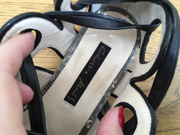 Chrissie Morris $1275 Lulu Cut-out Sandals Flats Lace Up Sandals 36 UK 3 US 6 LADIES