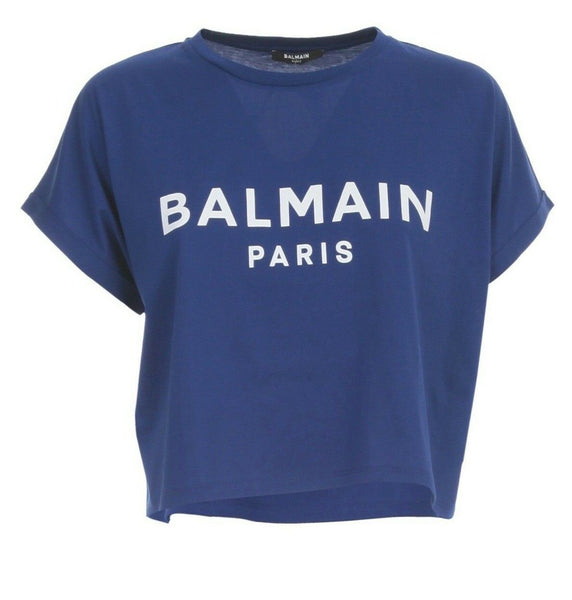 Balmain blue logo cropped T-shirt Size XS ladies