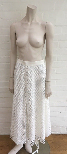 LOEWE 2017 Lace Embroidered High Waist A-Line Skirt With Asymmetric Hem 38 UK 10 Ladies