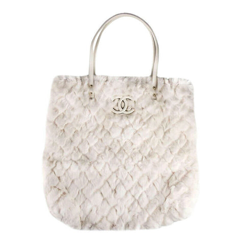 CHANEL 2017 Orylang Fur Quilted Pattern Shopping Tote Bag RARE Limited Edition ladies
