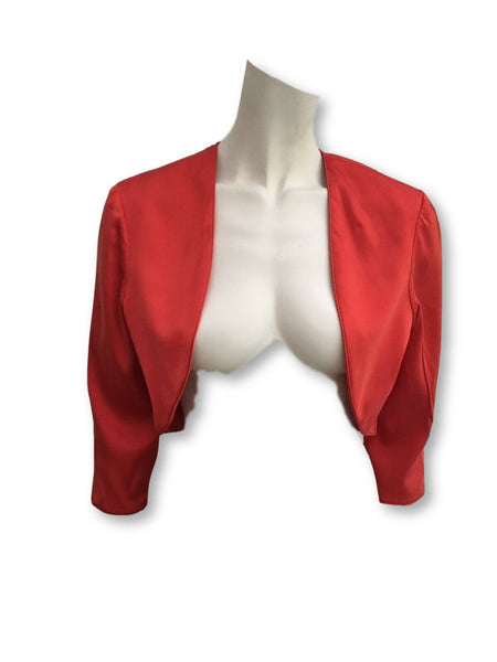 JASMINE DI MILO PRONOVIAS RED SILK CROPPED JACKET BLAZER ladies