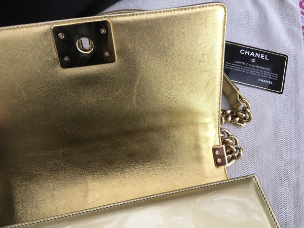 Chanel Limited Edition Metallic Gold Patent Medium Boy Flap Black Bag Handbag Ladies