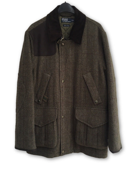 Ralph Lauren Polo Wool Tweed Suede Leather Patch Coat Amazing Size M Medium Men