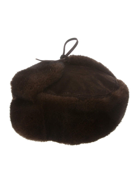 Bergdorf Goodman trapper Ushanka Russian Hat Men's brown mink fur suede Men
