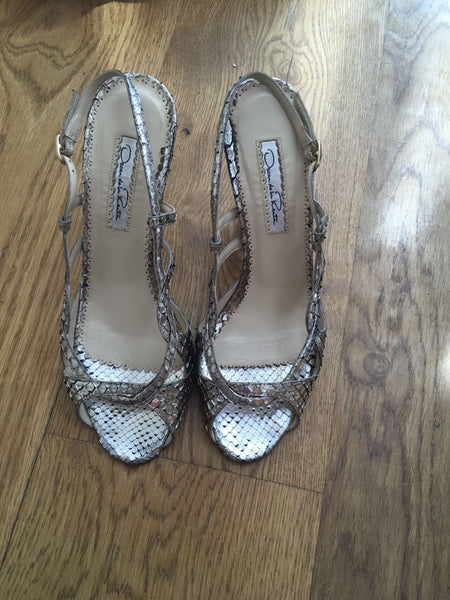 Oscar de la Renta metallic slingback snakeskin leather sandals Size 37 UK 4 US 7 Ladies