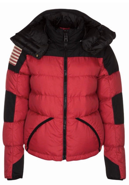 RALPH LAUREN Denim & Supply Womens Black Red Outerwear DOWN JACKET Sz M medium Ladies