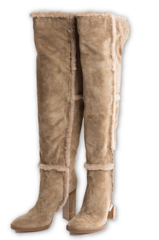 GIANVITO ROSSI Shearling-trimmed suede over-the-knee boots Size 40 US 10 UK 6 Ladies