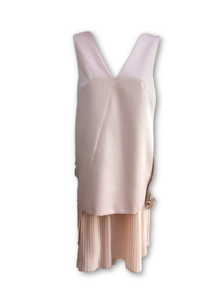 Finery London pink Amoy Pleated Insert Satin Dress LADIES