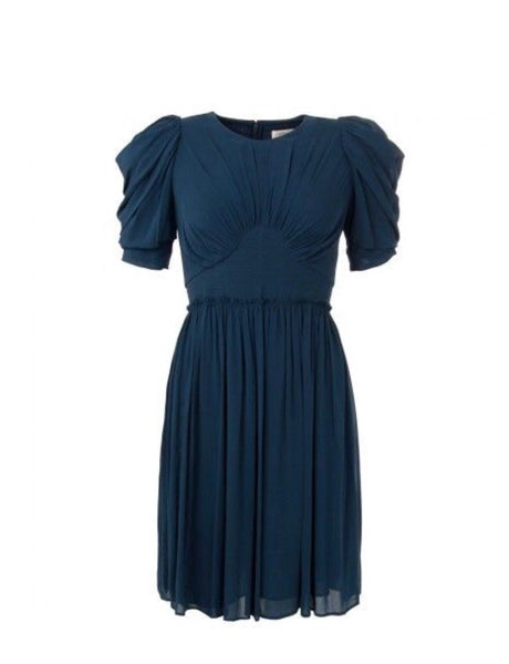 JASMINE DI MILO RUNAWAY COUTURE SILK NAVY DRESS Ladies