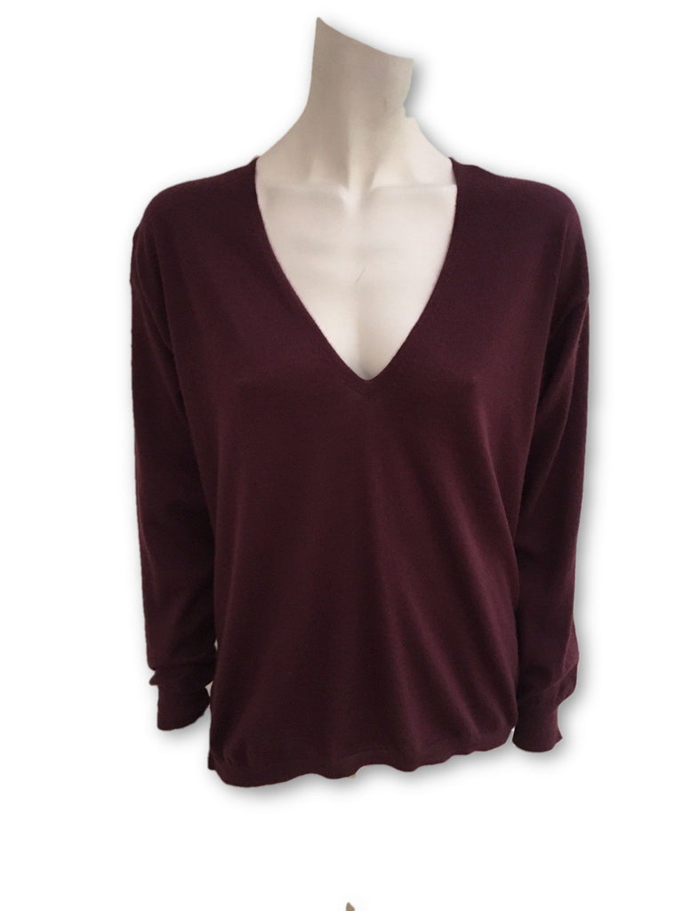 Burgundy pure cashmere thin knit sweater jumper top Size S Small Ladies