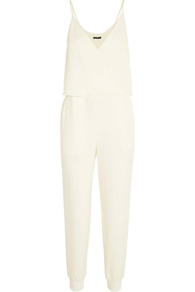 THEORY Odila crepe jumpsuit white Size US 4 UK 8 S SMALL ladies