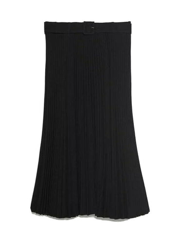 ZARA WOMAN PLEATED BELTED BLACK SKIRT Size S SMALL ladies
