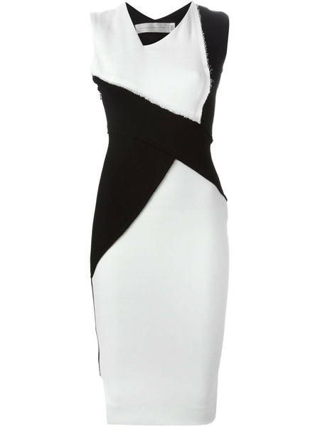 VICTORIA BECKHAM Dense Sable Patchwork Fitted Dress UK 10 US 6 F 38 I 42 ladies