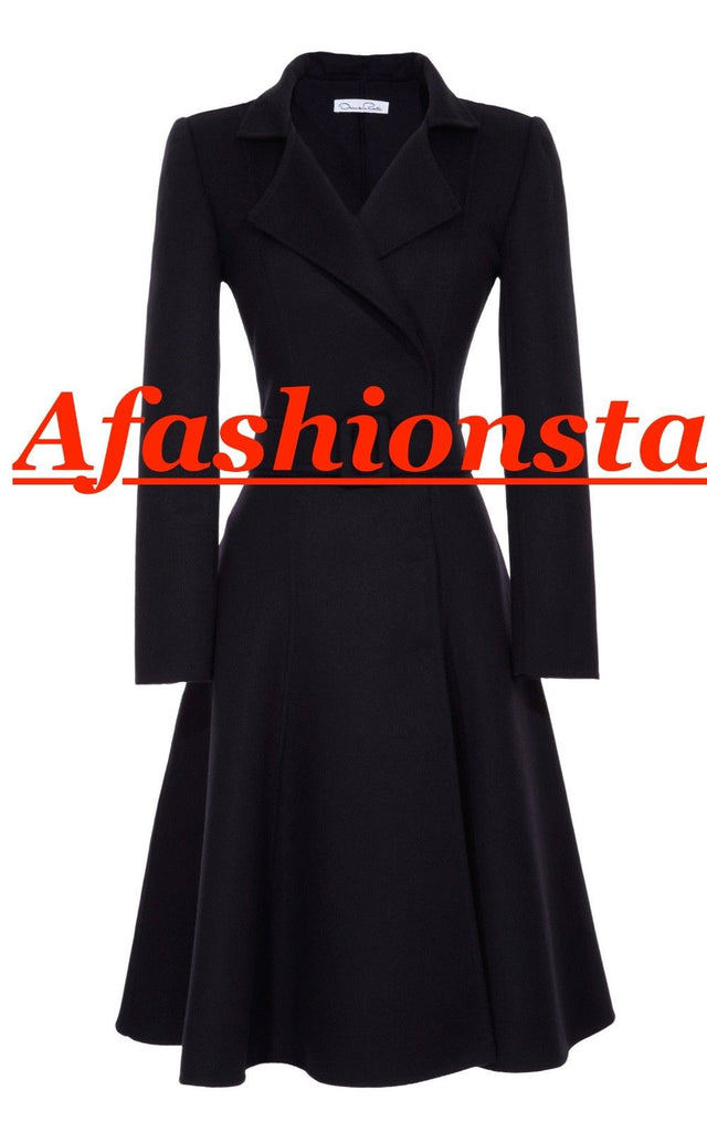 Oscar de la Renta Navy Cashgora Orylag Mohair Full-Skirted Coat US 0 UK 4 Ladies