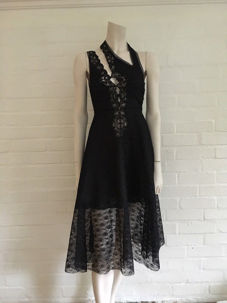 STELLA MCCARTNEY CAROLINE CUTOUT BLACK LACE DRESS IT 36 UK 4 US 0 Ladies