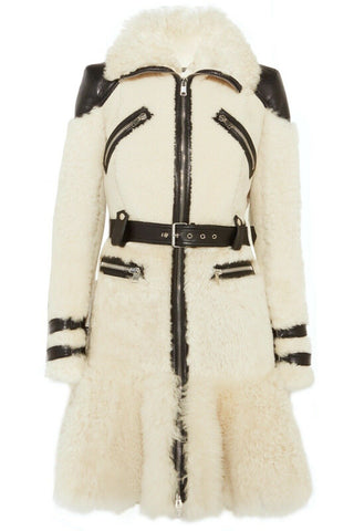 Alexander McQueen Leather-trimmed shearling fur jacket coat 42 UK 10 US 6 ladies