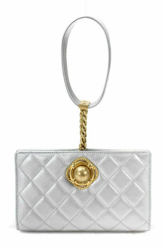 CHANEL Metallic 2019 Silver Evening By The Sea Bag Like Emily in Paris ladies