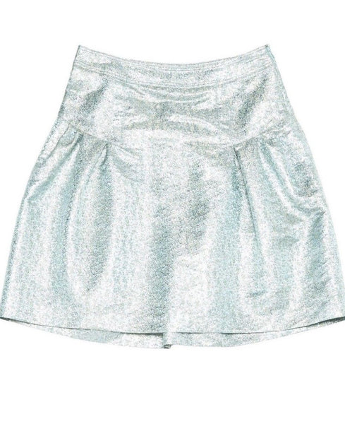BURBERRY PRORSUM JACQUARD METALLIC MID-LENGTH SKIRT LADIES