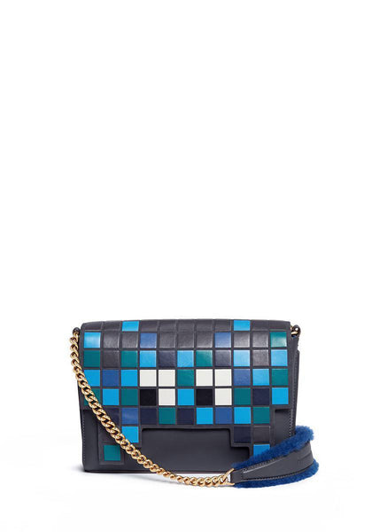 ANYA HINDMARCH 'EPHSON SPACE INVADER' LEATHER PATCHWORK TOTE BAG 2016 Ladies