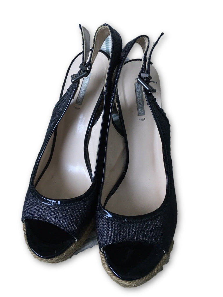 GIORGIO ARMANI braided patent leather wedges sandals shoes Size 36 UK 3 US 6 Ladies