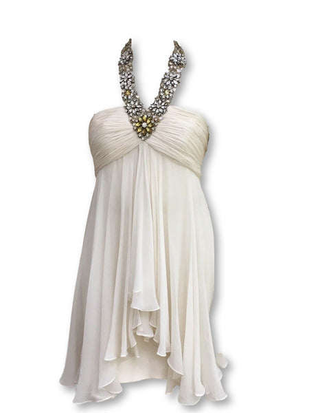 Marchesa Embellished silk-chiffon halter SO COUTURE Dress Ladies