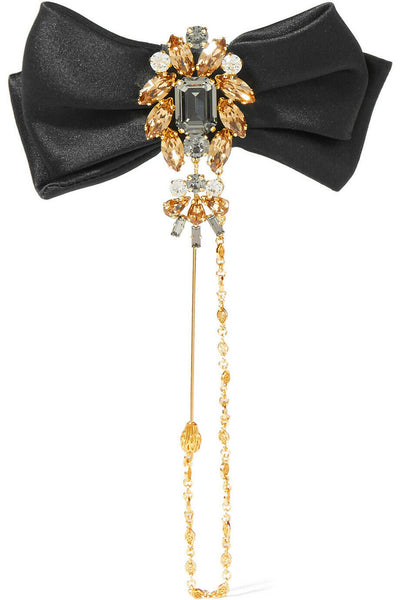 Dolce & Gabbana Satin, gold-tone and Swarovski crystal bow brooch Ladies