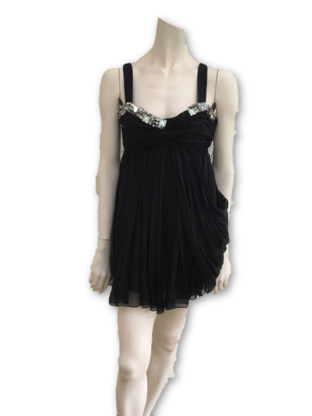 Matthew Williamson Black Silk Mini Jeweled Dress Size UK 8 US 4 Little Black LADIES