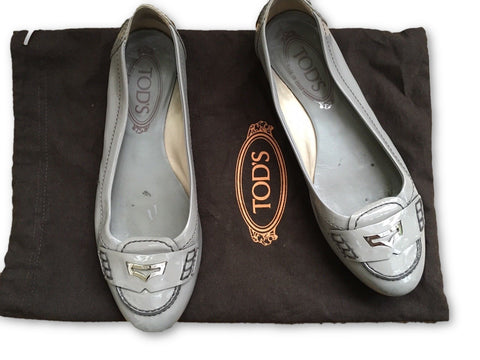 TOD'S Patent Leather Grey Flats Driving Shoes 36 1/2 UK 3.5 US 6.5 Ladies