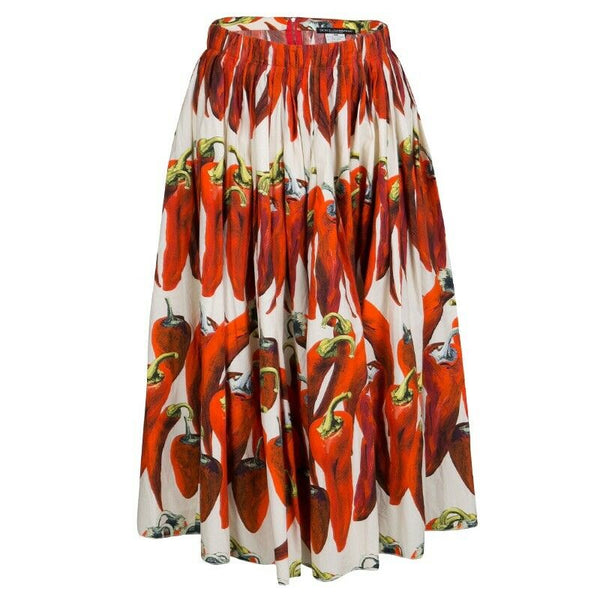 Dolce & Gabbana Chili pepper-print cotton-poplin skirt Size I 42 UK 10 US 6 ladies