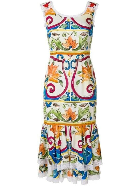 Dolce & Gabbana Sicilian style Majolica print midi dress Size I 44 UK 12 US 8 ladies