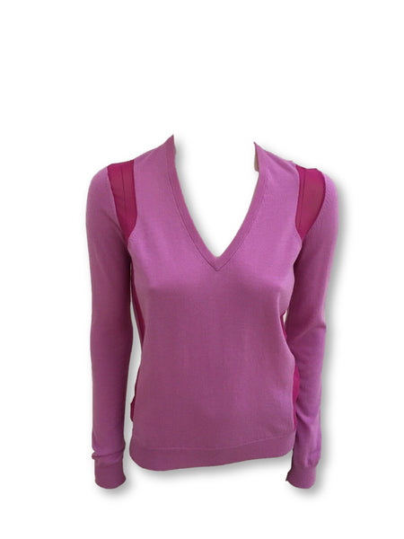 JOSEPH Women's Cashair Novelty Knit Pink Silk Insert Size M Medium Ladies