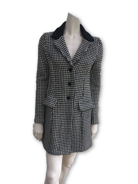 RALPH LAUREN Lauren Womens Houndstooth Wool Knit Coat Ladies