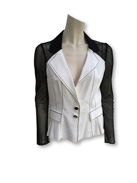 Maria Grazia Severi Blazer Sheer Sleeves Size I 42 Ladies