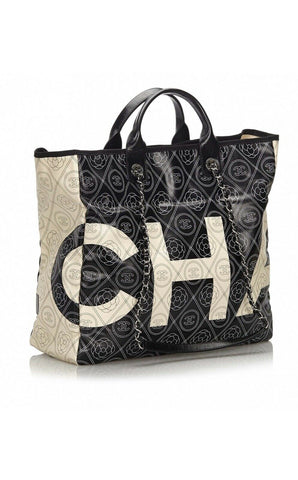 CHANEL Coated Canvas Camellia Printed Deauville CC Logo Chain Shopping Tote Bag ladies