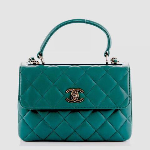 CHANEL Lambskin Quilted Small Trendy CC Flap Dual Handle Bag Green Handbag Ladies